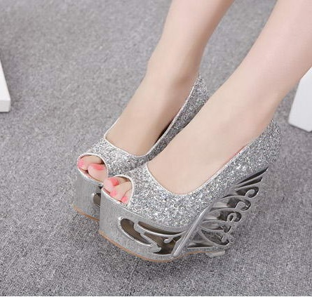 Sexy Silver Women Pumps Wedges High Heels For Woman Wedding Party Casual  Sandals Ladies Clear Peep Toe Evening Wedge Heels Shoes-in Women s Pumps  from Shoes ... f91621f22697