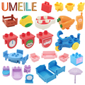 Umeile duplo tabla silla cuna lou yi caso accesorios de bloque de construcción decoración del equipamiento casero de ladrillo play house juguetes de niña