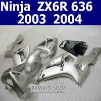 Injection Mold For Kawasaki ZX6r 2003 2004 Fairing Kit Zx 6r 03 04 Whole Silver High