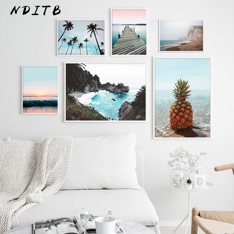 Scandinavian Poster Nordic Ocean Bridge Pineapple Wall Art Canvas Print Seascape Painting Tropical Decoration Picture Home Decor