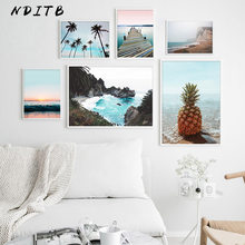 Scandinavian Poster Nordic Ocean Bridge Pineapple Wall Art Canvas Print Seascape Painting Tropical Decoration Picture Home Decor(China)
