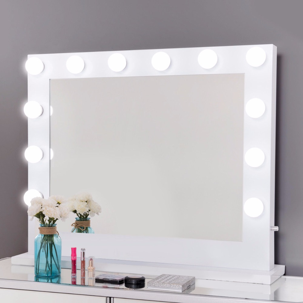 Giantex Lighted Makeup Vanity Dressing Mirror Tabletop Mirror Dimmer LED White Modern Furniture HB85210 wooden dressing table makeup desk with stool oval rotation mirror 5 drawers white bedroom furniture dropshipping
