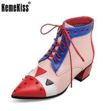 KemeKiss Mujeres Punta estrecha Botines Mujer de Encaje Hasta Bota Femenina Señoras Elegantes Remaches Talones Calzado Tamaño 32-48