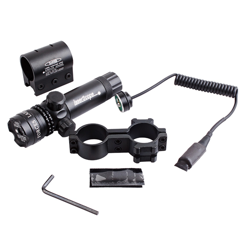 BIJIA Tactical Hunting Red/Green Laser Sight Scope 20mm Rail Picatinny Mount Gun Outside Adjust For RifleScope