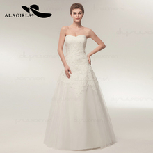 Alagirls New Arrived A Line Lace Appliques Wedding Dress 2019 Sweetheart Floor Length Tulle Gown Vestido de novia Bridal