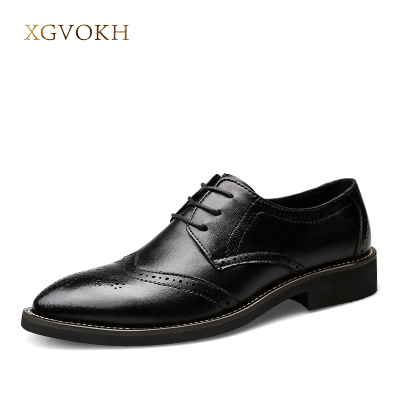 Men Oxford Shoes Size 38-46 Business Leather Shoes Man Formal Bullock Dress Breathable Lace-Up XGVOKH Brand Black Flats Shoes england carved men s business dress shoes leather men s shoes european version breathable black and white fight color shoes
