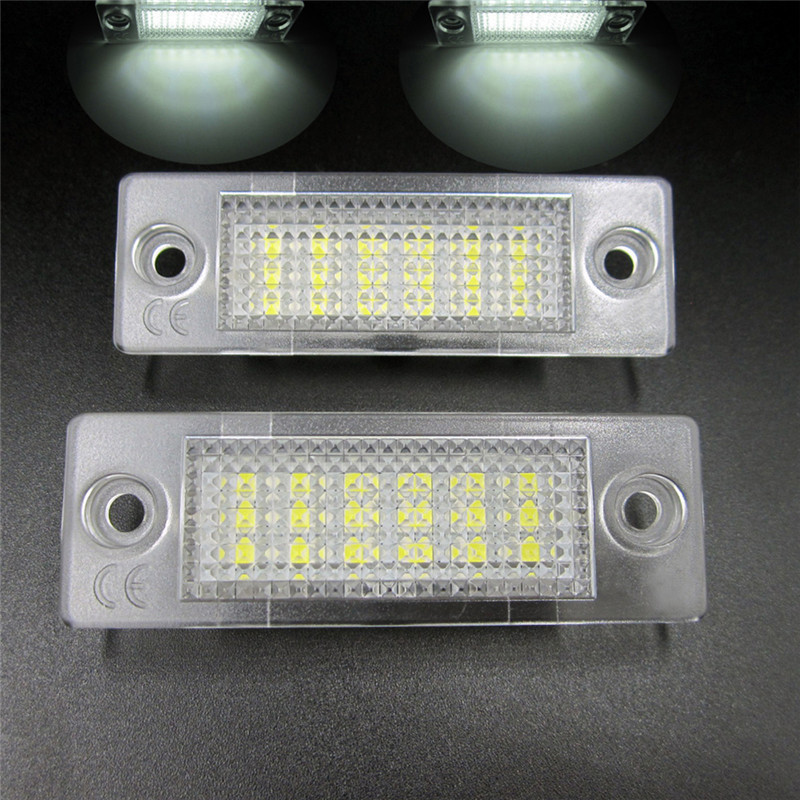 Hot Sale ! 2x White 18 LED 3528 SMD Number License Plate Lights Lamp for VW Passat B5 Caddy T5 Free Shipping no error car led license plate light number plate lamp bulb for vw touran passat b6 b5 5 t5 jetta caddy golf plus skoda superb