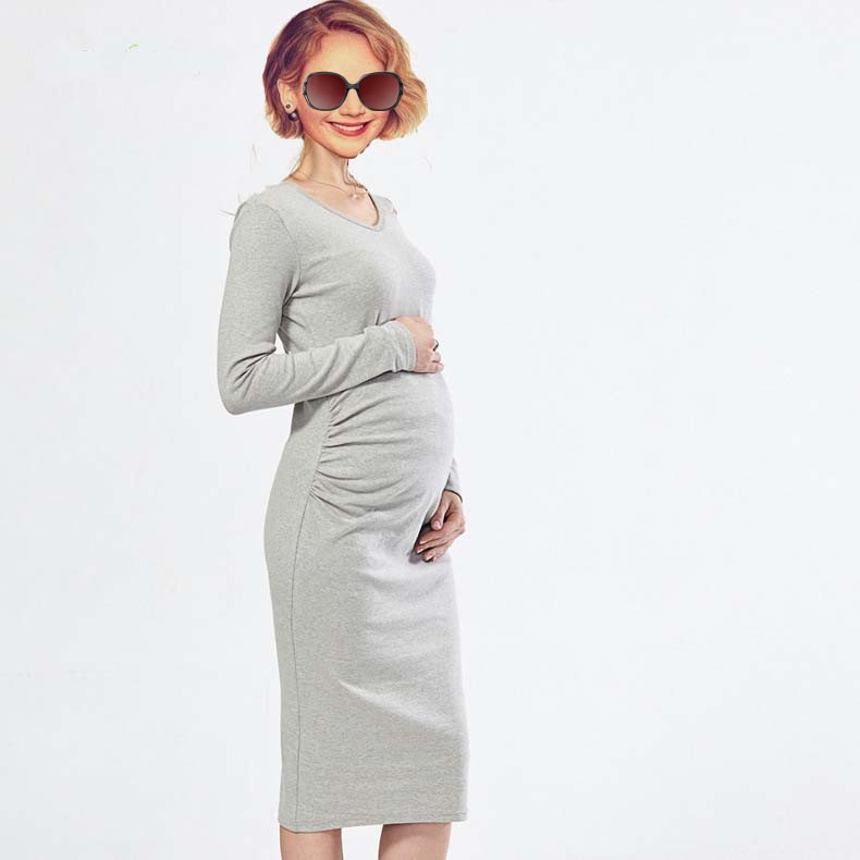 Autumn And Spring  Pregnant Women Wear Out Dress Pure Color Fashion Cotton Long Sleeve Pregnant Women maternity clothes 4 color 2016 summer new maternity clothes for the pregnant women 100% cotton fashion maternity dress doll dress big size gravida clothes