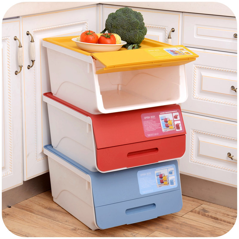 Japanese two stage flip stackable storage boxes, plastic ...
