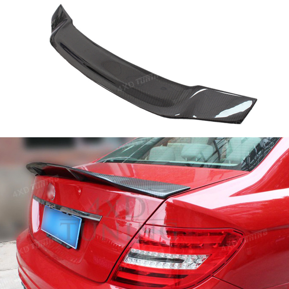 For Mercedes W204 Spoiler R Style Sedan C Class W204 C180 C200 C250 C260 Carbon Fiber Rear Spoiler car Rear Trunk Wing 2008-2014 car styling led drl for mercedes benz w204 c class c180 c200 c250 c260 c300 2008 2010 led bumper daytime running lights daylight