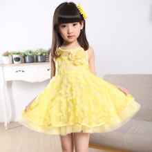 New Children Condole Belt of Bitter Fleabane Summer Cute Princess Dress Show Costumes Party Wedding Flowers Lace Yellow Pink