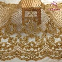 La Belleza New fashion design super heavy handmade beading crystl pearls gray/ivory/gold wedding dress lace fabric 1 yard
