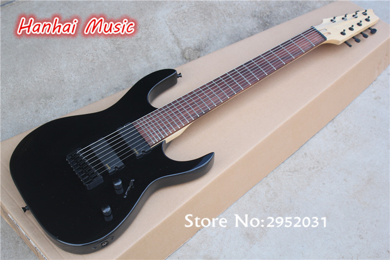 free shipping 8 string electric guitar with 27 frets black body and pickups maple fretboard and. Black Bedroom Furniture Sets. Home Design Ideas