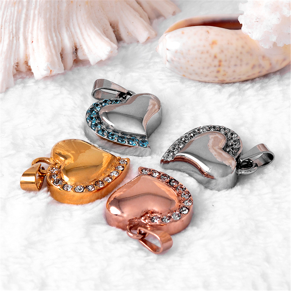 Shiny Crystal Heart Cremation Urn Memorial Jewelry ...