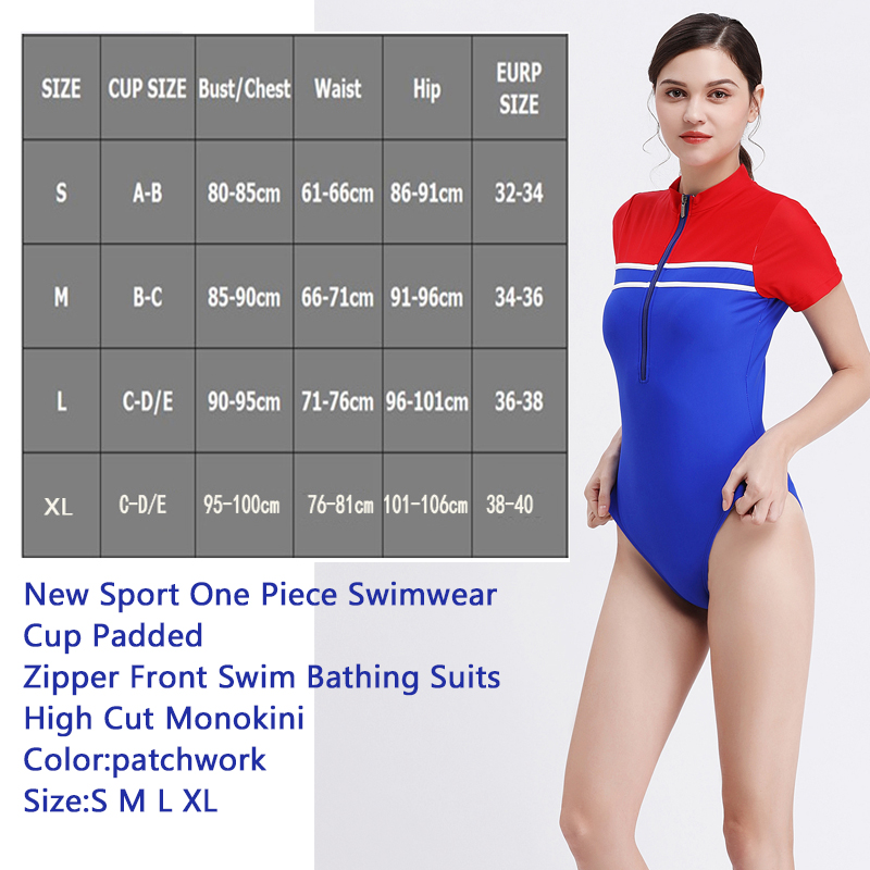 1731b27f16a New Sport Swimsuits Women 1 PC Swimwear Zipper Front High Cut Monokini Beach  Swim Bathing Suit With Short Sleeves Retro Swimwear