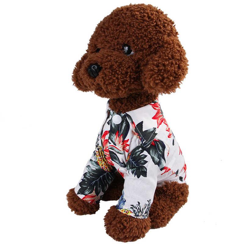 Футболки для собак хлопок летняя пляжная майка с коротким рукавом Одежда для питомцев, собачий с цветочным рисунком футболка Топы в гавайском стиле