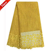 AE06 yellow Bridal Wedding Lace High quality Swiss Cotton Guipure lace fabric 5 Yards Nigerian Cord Lace Fabrics
