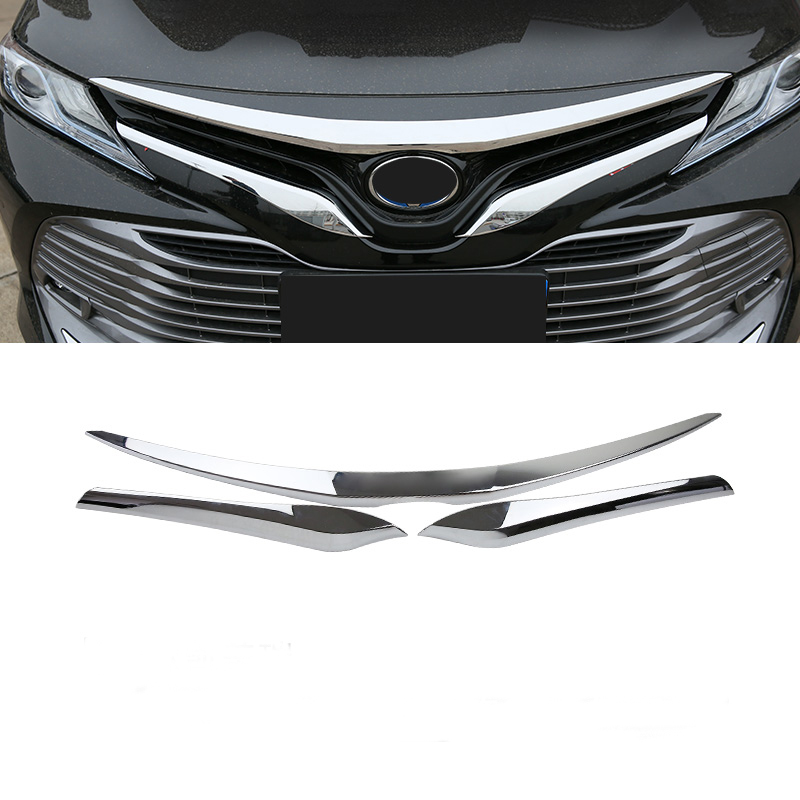 3 pièces/ensemble ABS Chrome calandre capot moteur cache garniture voiture autocollant pour 2018 Camry accessoires