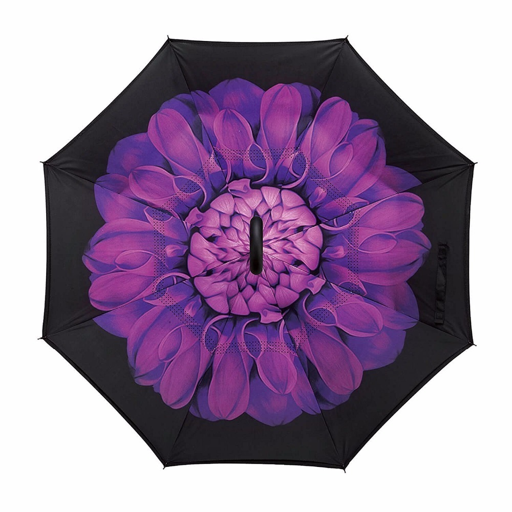 Cool Purple Flower Double Layer Inverted Cars Reverse Rain