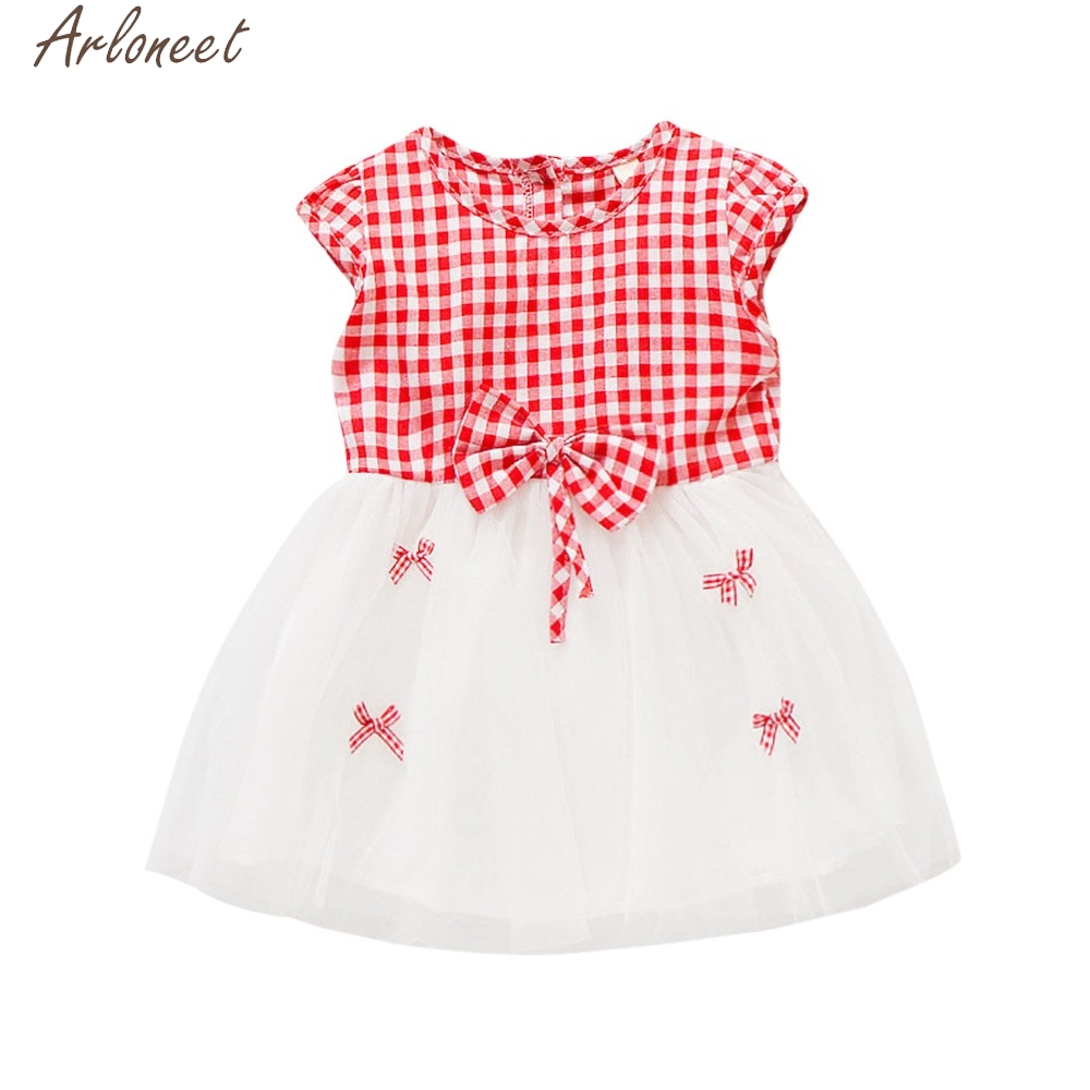 ARLONEET Newborn Toddler Baby Girls Plaid Net Yarn Casual Clothes Summer Dresses For Girls Dropshipping May8 W20d30