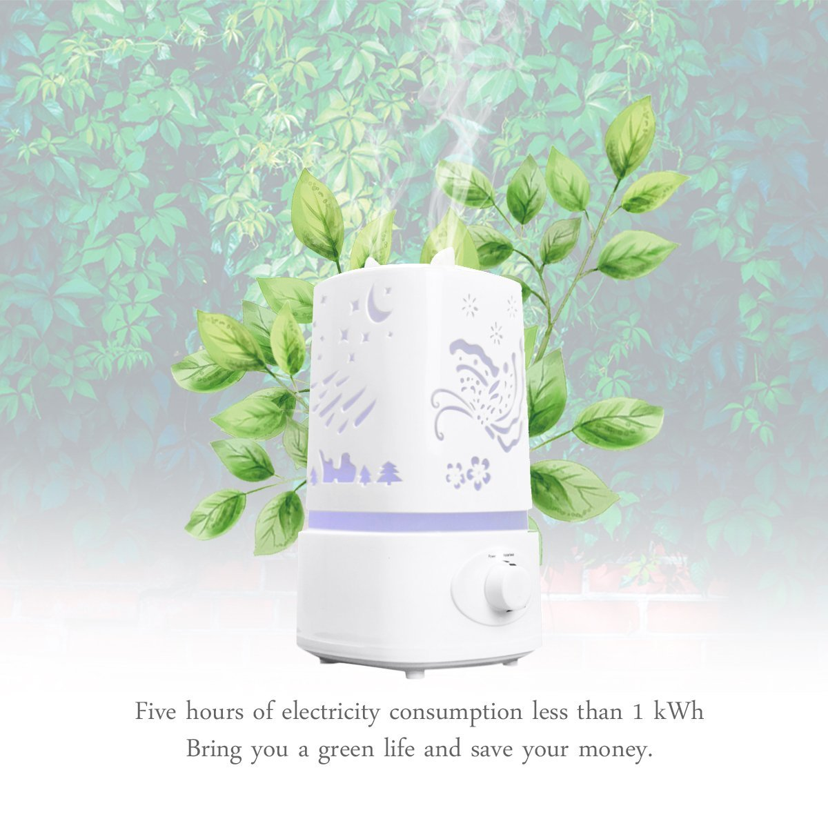 Ultrasonic air humidifier aroma diffuser, oil mist humidifier, 7 color LED lights, 1.5 liter water capacity, auto off аir humidifier