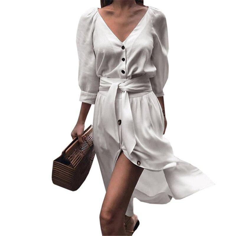 2019 Autumn Fashion Women White Dresses Sexy Deep V Neck Button Bow Dress Casual England Style Half Sleeve Party Dress Vestidos