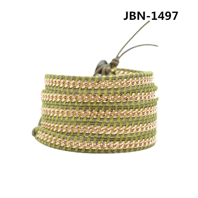Fashion jewelry Hand-woven leather chain wrapped bracelet men and women lady Christmas gift JBN-1497