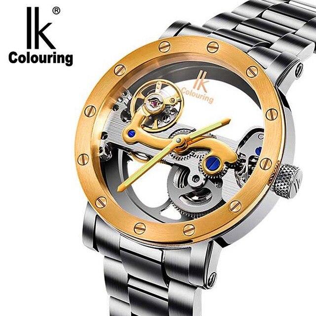 55417ea8918 IK colorir relógio mecânico automático oco double-sided 50 metros maré  masculino mesa de aço