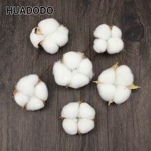 HUADODO 6 Adet Doğal Pamuk kafa yapay çiçek Kurutulmuş çiçekler Ev Için Noel DIY Garland Çelenk Çiçek Duvar Dekorasyonu