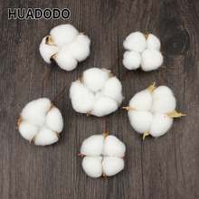 HUADODO 6Pcs Natural Cotton head Artificial Flower Dried flowers For Home Christmas DIY Garland Wreath Flowers Wall Decoration