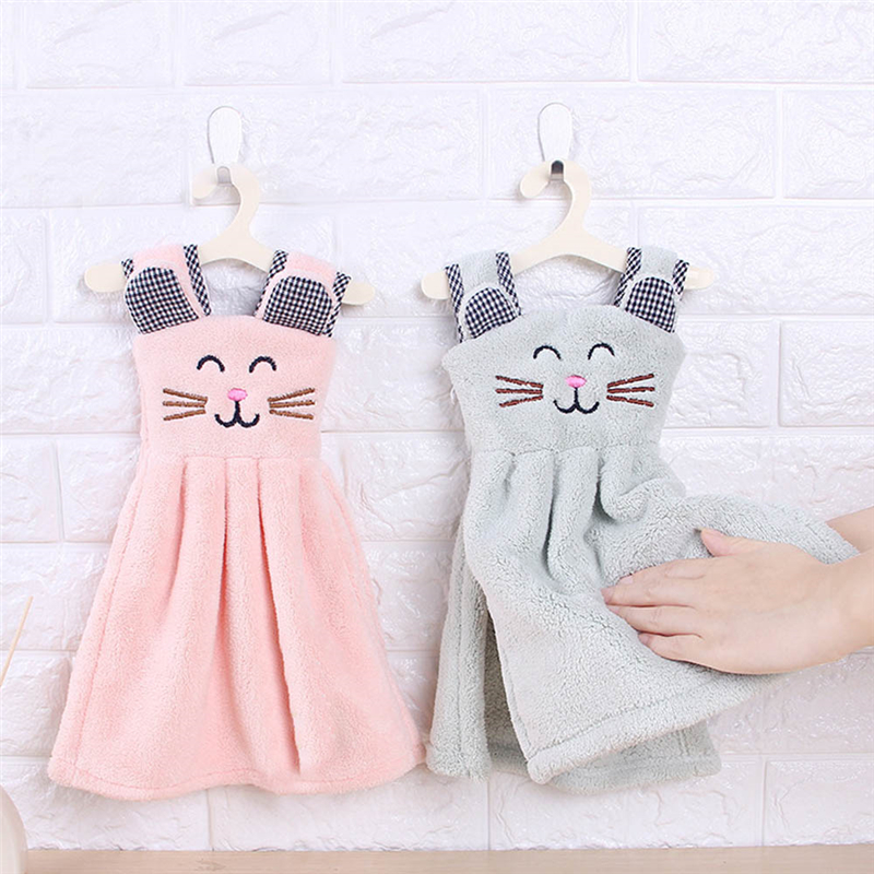 Cute Cat Dress Hand Towel For Kids Chidren Microfiber Absorbent Hand Dry Towel Kitchen Bathroom Soft Plush Dishcloths