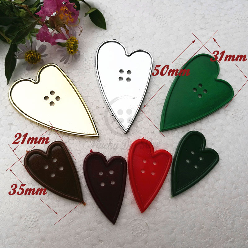 24pcs/ 48pcs 50mm /35mm 4 holes One color / Mixed color Heart buttons for Christmas Decoration plastic craft accessories