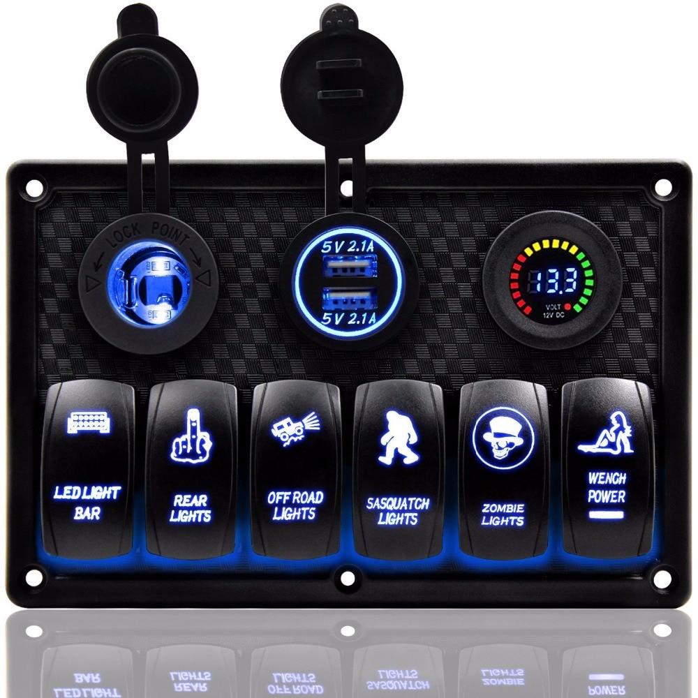 8 ギャングロッカースイッチパネルデュアル USB スロットソケットデジタル電圧表示のシガーライター車の Rv 車トラックマリンボート  グループ上の 自動車 &バイク からの RV パーツ & アクセサリー の中 1