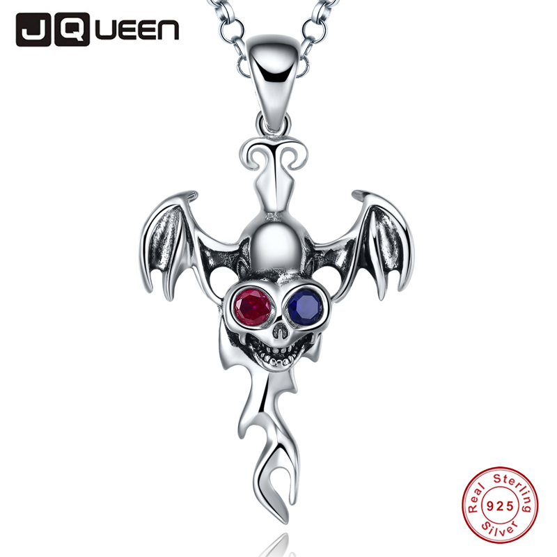JQUEEN Wings skull necklace women biker jewelry Vintage 925 Sterling Silver Jewellery for Men with Black Spinel 16/18 inch vintage bird wings necklace for women
