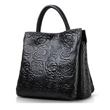 2016 echtes Leder Damenhandtasche Exquisite Geprägt Weibliche Umhängetasche Fashion Floral Appliques Crossbody-tasche Für Arbeits