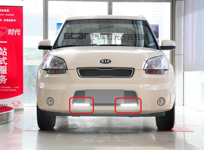 Free ship!drl ,fog light for 2010~2013 KIA SOUL LED daytime running light,2pcs/set 2013 2016 cadilla xts daytime light 4pcs set led free ship xts fog light ats sls srx xlr