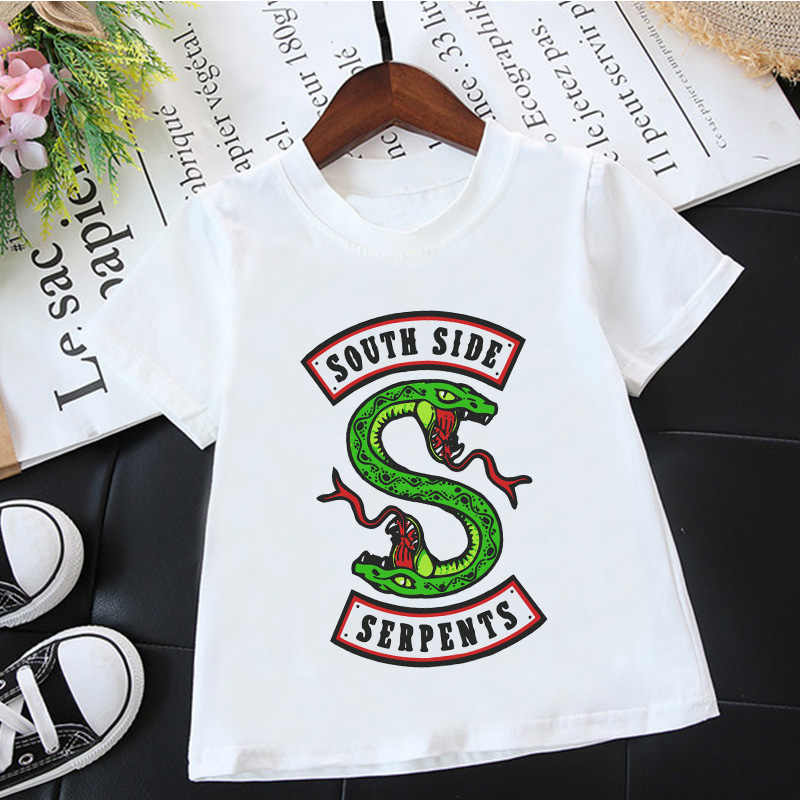 Fashion Korean Boys T Shirts Riverdale South Side Serpents Animal Print Harajuku Casual T Shirt Girl Vintage White Baby T Shirts
