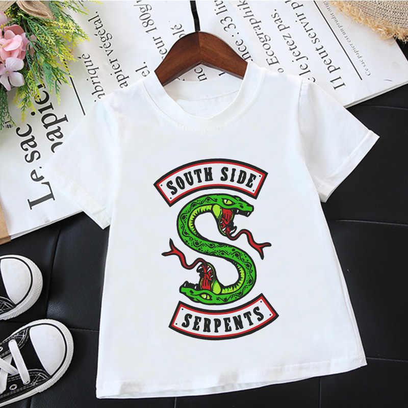 Fashion Korean Boys T Shirts Riverdale South Side Serpents Animal Print Harajuku Casual T Shirt Girl Vintage White Baby T Shirts