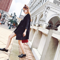 The west can fall in the long section of a Korean version of women's seven button suit sleeve loose black blazer