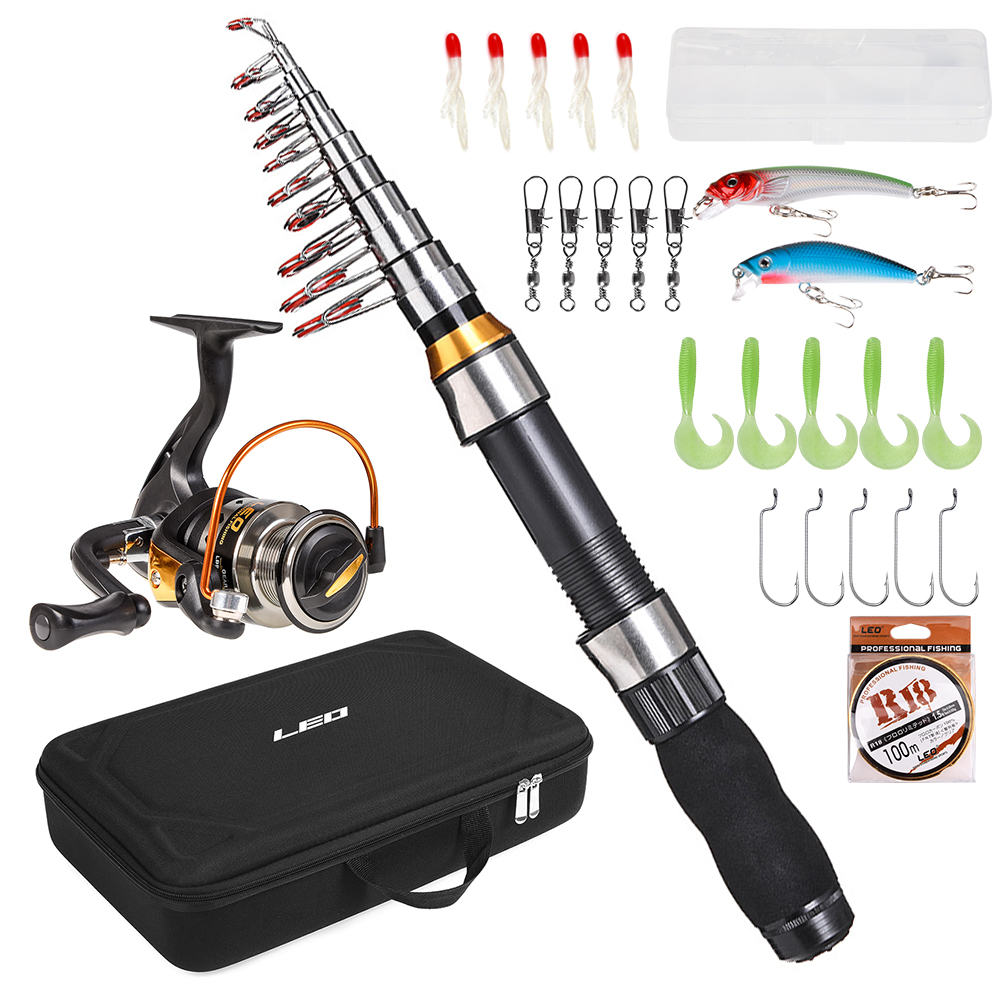 Telescopic Fishing Rod Spinning Reel Set Fishing Line Lures Hooks with Carry Bag Portable Fishing Rod and Reel Combo(China)