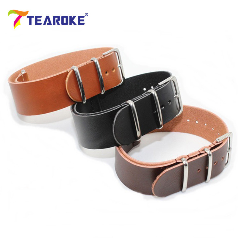 TEAROKE Termurah PU Kulit ZULU tali bandband NATO Imitation Leahter Watch band 18mm 20mm 22mm 24mm Aksesori Watch Brown