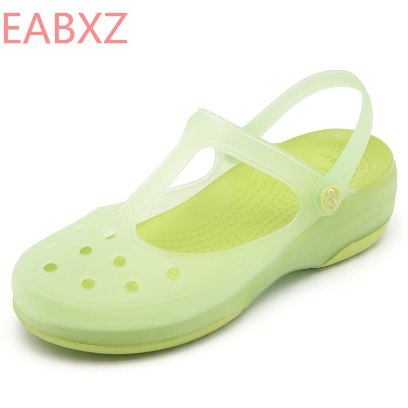 EABXZ 2019 Summer New Small Fresh Mary Jane Jelly Sandals Female Sweet Thick Bottom Baotou Beach Cave Shoes  Zapatos De Mujer