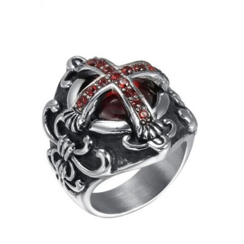 Special Offer Punk Jewelry Anillos New Vampire Steel Rings Men Jewelry Gothic Ring Big With Stonesrc-051