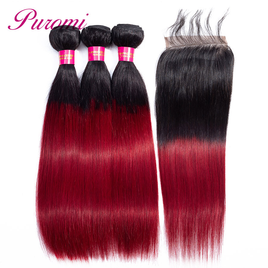 Puromi Ombre Human Hair 3 Bundles With Lace Closure Free Part 1b/Burgundy Brazilian Straight Hair Bundles With Closure Non-Remy