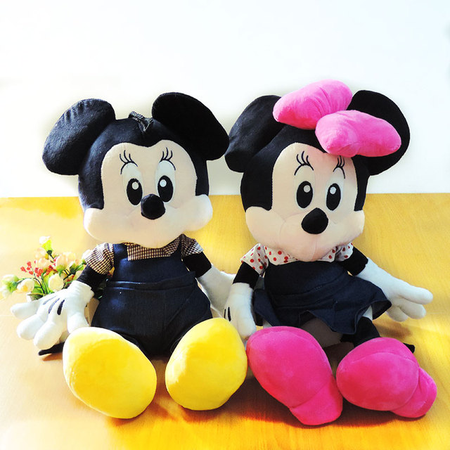 55CM Large Cartoon Mouse Mickey Minnie Soft Dolls Stuffed Toys Anime Figure Couple Mice with Jeans Children Kids Girls Gifts