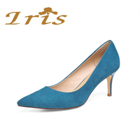 IRIS Sexy Pointed Toe High Heel Pumps Ladies ClassicHeels Career Office Women Shoes Acid BlueGenuine Leather