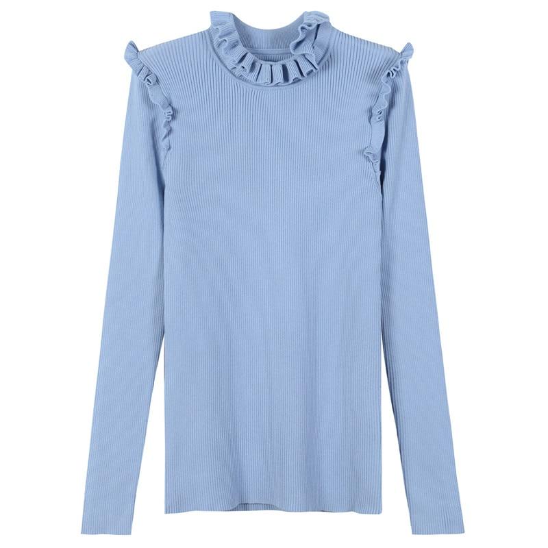 SRUILEE Brand Design Ruffles Bodycon Jumper 2018 Spring New Women Sweater Pullover Knit Tops Elegant Jersey Haute Couture Runway