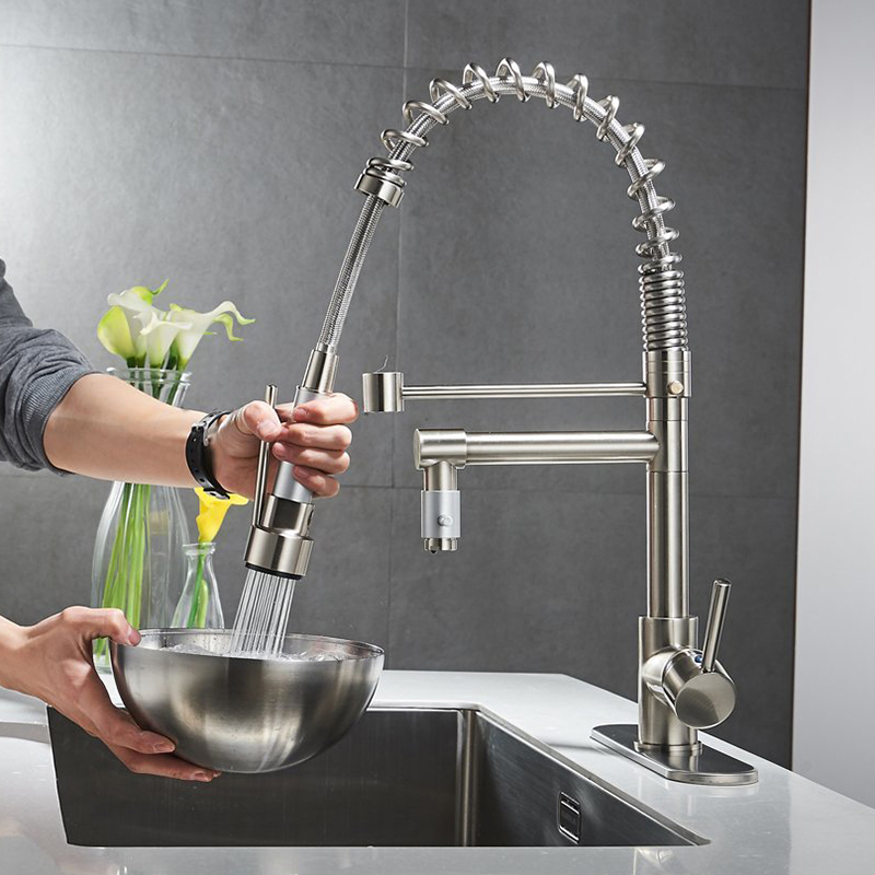 Nickel Brushed Spring Kitchen Faucet Pull out Sprayer Dual Spout Single Handle Mixer Tap Sink Faucet 360 Rotation Kitchen Faucet