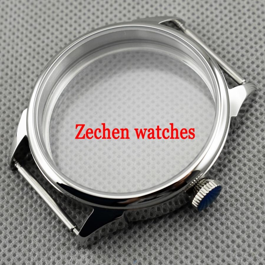 42mm Silver Steel Wrist Watch Case Fit parnis mens watch ETA 6497/6498 Seagull ST3600/3620