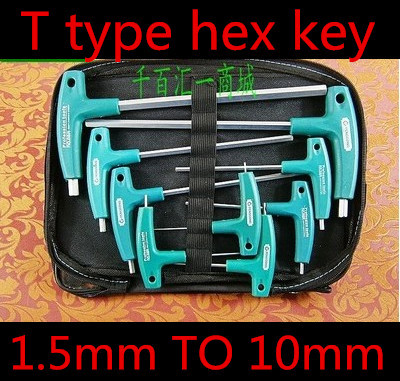 9pcs T Type 1 5mm To 10mm Hex Key Set Crv Steel T Handle